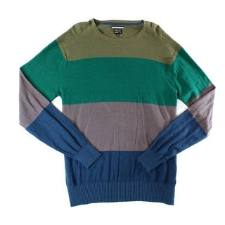 RVCA NEW Green Navy Mens Size XL Crewneck Striped Pullover Sweater