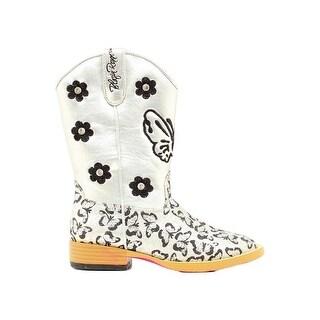 Blazin Roxx Western Boots Girls Pecos Kids Glitter Zip Silver