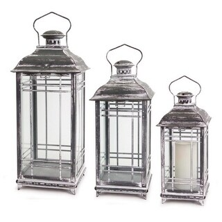 Set of 3 Charcoal Gray and White Wash Mission Style Glass Pillar Candle Lanterns 20""