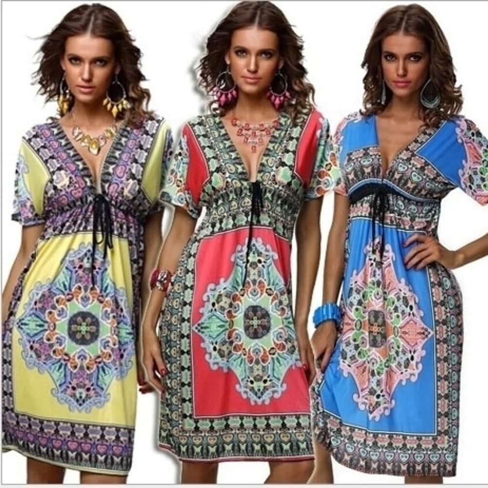 Vintage 1970S Summer Dress V Collar Sexy Milk Silk Dress Code
