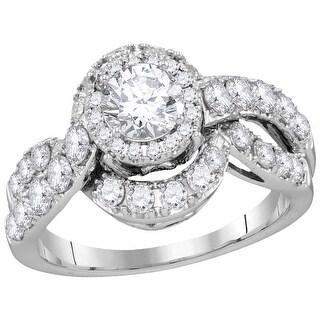 14k White Gold Womens Natural Round Diamond Bridal Wedding Engagement Anniversary Ring 2.00 Cttw