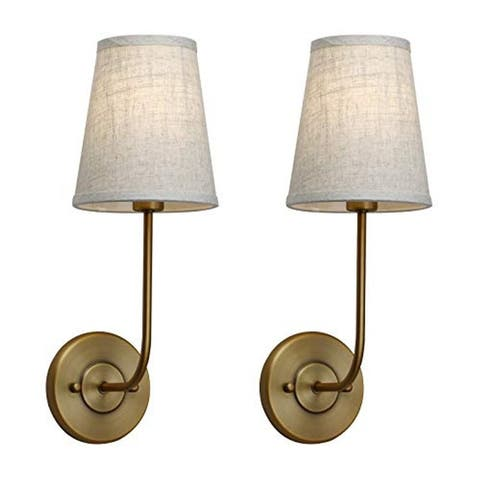 2 pack vintage wall sconce with fabric shade