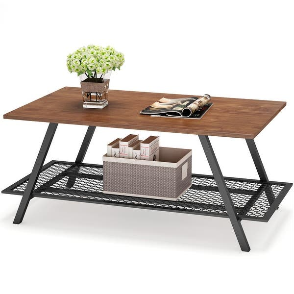 Retro Industrial Coffee Table With Open Metal Mesh Storage Shelf For Home Office Wood Look Accent Furniture With Metal Frame Overstock 30139937
