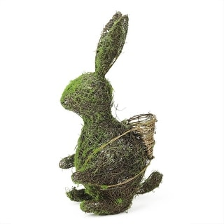 "18.5"" Brown and Green Grapevine and Moss Standing Bunny Rabbit Spring Table Top Easter Decoration"