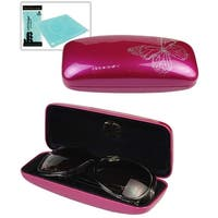 JAVOedge Butterfly Print Glossy Hard Rectangle Glasses Case with Bonus Microfiber Cloth
