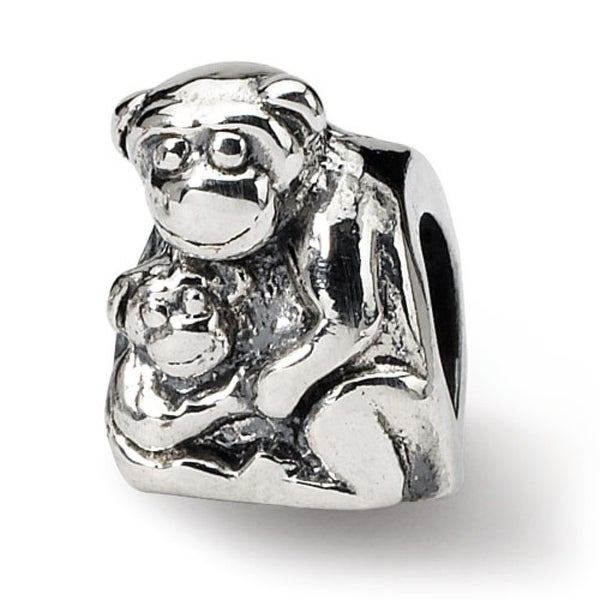 Sterling Silver Reflections Mama & Baby Monkey Bead (4mm Diameter Hole)