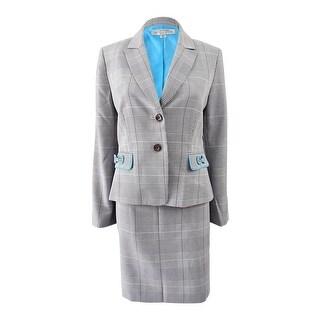 Tahari ASL Women's Petite Bow-Trim Skirt Suit (8P, Grey/Ivory/Black) - grey/ivory/black - 8P