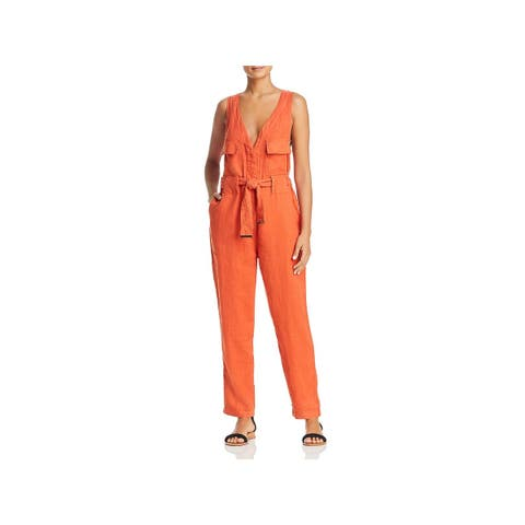 Donna Karan Womens Jumpsuit Linen Belted