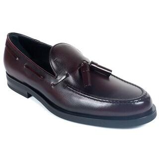 Tod's Men's Burgundy Leather Tassel Slip On Loafers