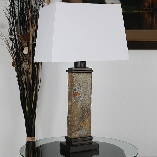 Sunnydaze Indoor-Outdoor Thin Natural Slate Table Lamp - Electric - 26-Inch