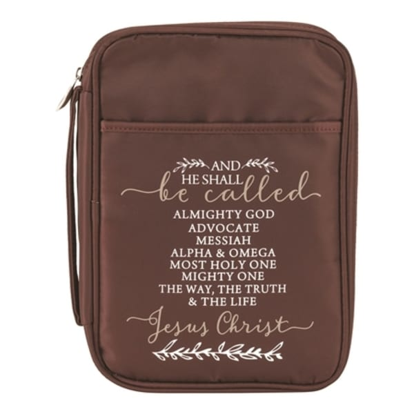 """9.5"""" Brown and White Holy Quote Printed Bible Thinline Cover - N/A"""