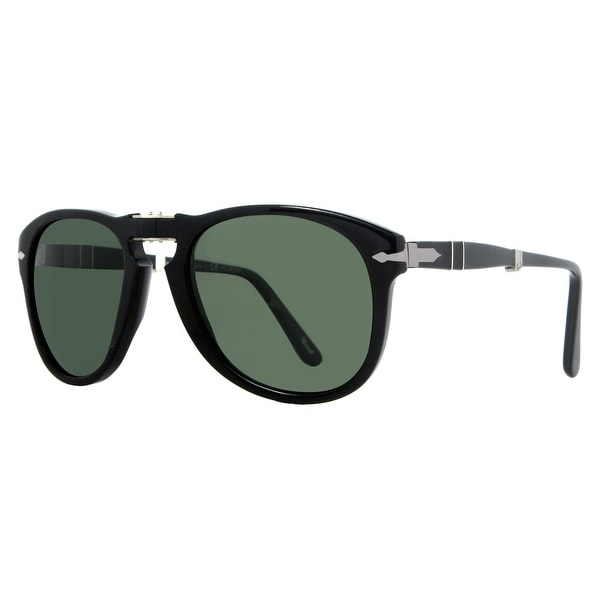 Persol PO 714 95/58 54mm Shiny Black/Green Polarized Folding Sunglasses - Shiny Black - 54mm-21mm-140mm