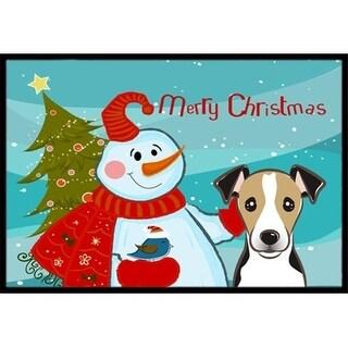 Carolines Treasures BB1881JMAT Snowman With Jack Russell Terrier Indoor & Outdoor Mat 24 x 36 in.