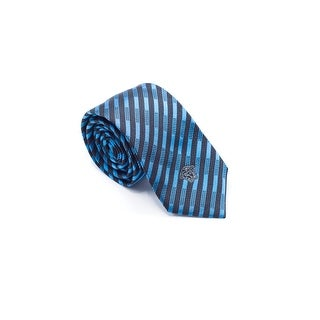 Versace Mens Black Blue Striped Pure Silk Medusa Ties - no size