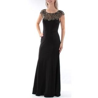 Womens Black Cap Sleeve Full-Length Sheath Formal Dress Size: 8
