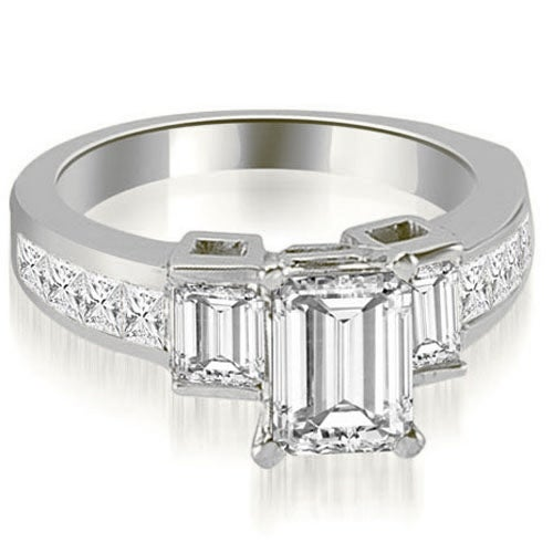 2.40 cttw. 14K White Gold Channel Diamond Princess and Emerald Engagement Ring