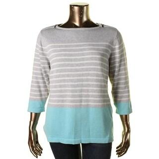 Karen Scott Womens Plus Colorblock Shoulder Zipper Pullover Sweater