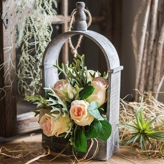 RusticReach Rose Plant Bouquet with Wood Hanging Basket Set - Green/Pink