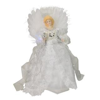 """12"""" Elegant White and Silver LED Light Fiber Optic Angel Christmas Tree Topper"""