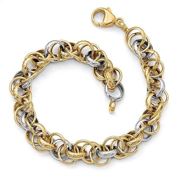 Italian 14k Two-Tone Gold Bracelet - 7.5 inches