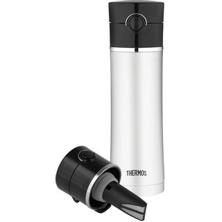 Thermos 16 Ounce Drink Bottle with Tea Infuser (Silver & Black)