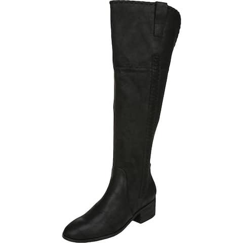Carlos Womens Briar Over-The-Knee Boots Textured Block Heel - Black