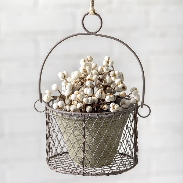 Small Hanging Pot with Wire Basket - 2 Pack