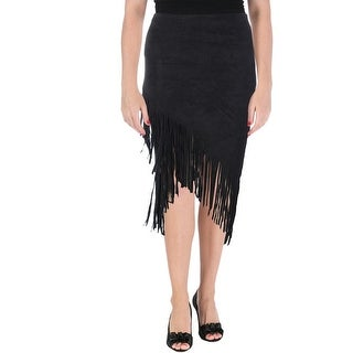 Aqua Womens Faux Suede Fringe Asymmetrical Skirt