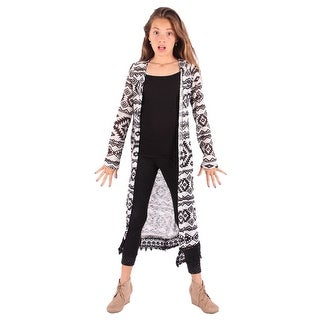 Lori&Jane Girls Black White Lace Trim Cardigan