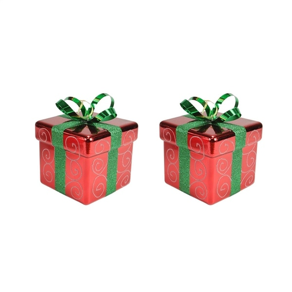 """Pack of 2 Red and Green Gift Box Shatterproof Christmas Ornaments 6"""""""