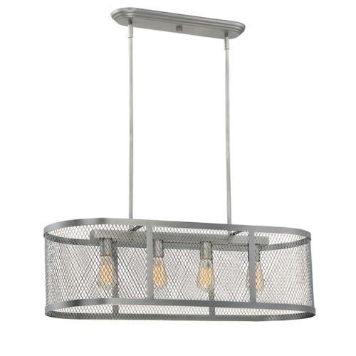 "Millennium Lighting 3284 Akron 4 Light 36"" Wide Linear Chandelier with Mesh Style Metal Oblong Shade"