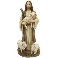 "Pack Of 2 Joseph's Studio Good Shepherd & Sheep Religious Figures 12"" - Brown"