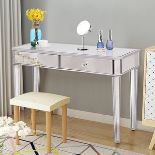 Costway 2 Drawer Mirrored Vanity Make Up Desk Console Dressing Silver Glass  Table Modern