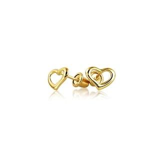 Tiny Minimalist Open Heart Shaped Stud Earrings For Women For Teen Real 14K Gold Screwback