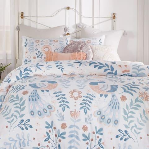 Brigid Birds and Florals Cotton Comforter and Sham Set