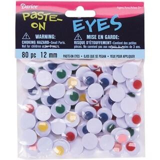 Paste-On Wiggle Eyes 12mm 80/Pkg-Assorted