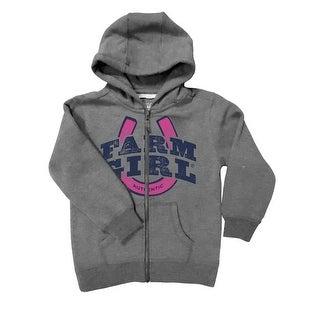 Farm Girl Western Sweatshirt Girls Hooded Zip Charcoal F83037119