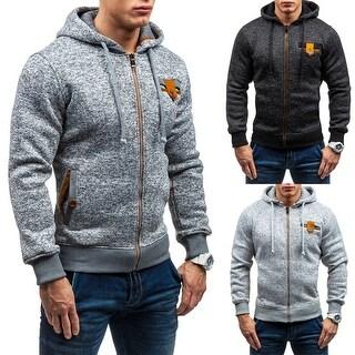 Winter Men Long Sleeve Slim Hoodie Warm Hooded Top Sweatshirt Outwear Gift