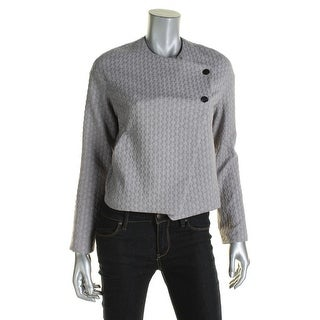 Rachel Roy Womens Bomber Jacket Knit Textured