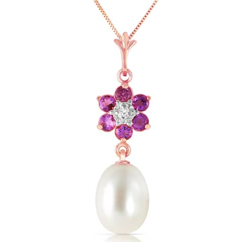 4.53 Carat 14K Solid Gold Necklace Natural Pearl, Amethyst Diamond