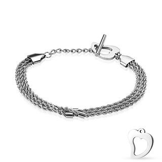 "Hollow Heart End Triple Braided Chain Stainless Steel Bracelet - 7"" (Sold Ind.)"