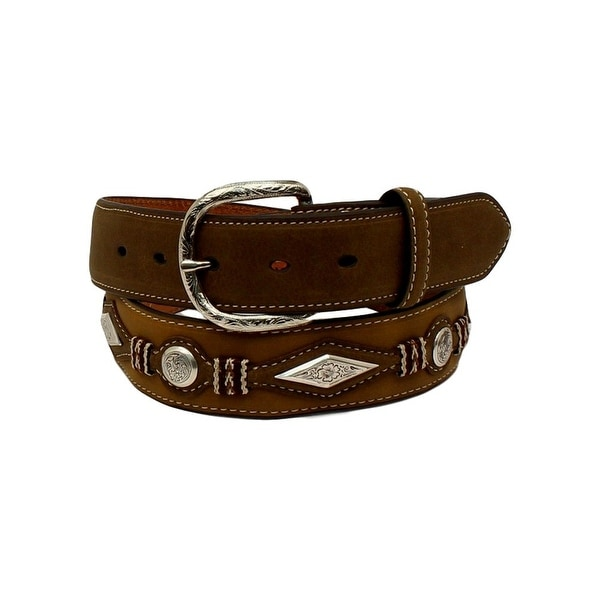 Nocona Western Belt Mens Diamond Scroll Concho Top Hand Brown