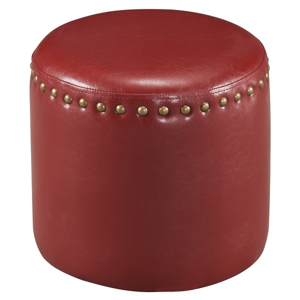 The Curated Nomad Barbossa Faux Leather Round Ottoman. Opens flyout.