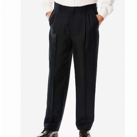 Enro Mens Dress Pants Black Size 32X32 Straight Flat Front Wool Stretch