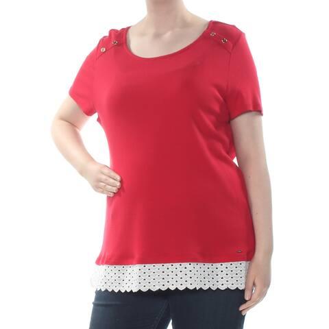 50506d196 TOMMY HILFIGER Womens Red Button Detail Crochet Hem Short Sleeve Scoop Neck  Top Size: XXL