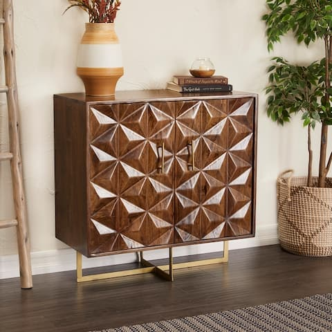 Brown Mango Wood Contemporary Cabinet - 34 x 16 x 34