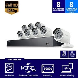 SDH-B74081 - Samsung 8 Channel 1080 Full HD HD Video Security System with 8 Outdoor Cameras