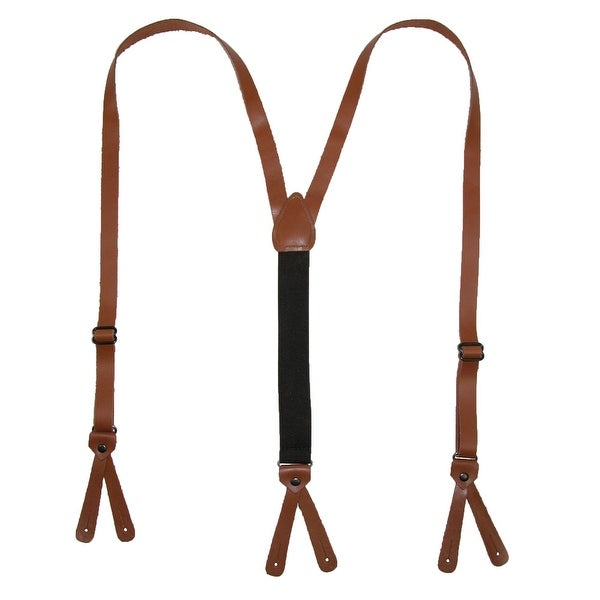 CTM® Leather Button-End 3/4 Inch Suspenders - One size
