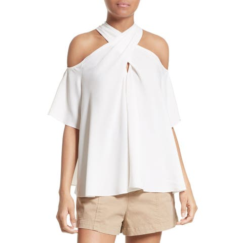 A.L.C. White Womens Size 10 Halter Kayley Silk Cold Shoulder Blouse