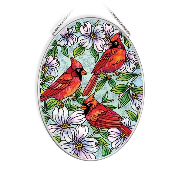"""Red and Green Cardinals Dogwood Oval Glass Wall Art Decor 7.25"""" x 5.50"""" - N/A"""